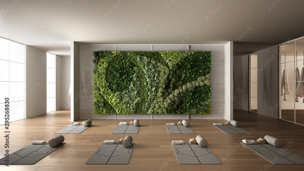 Fototapeta Empty yoga studio interior design, space with mats, hammocks, pillows and accessories, parquet, mirror, vertical garden and big panoramic window, ready for yoga practice, meditation