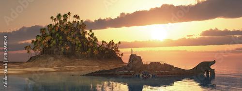 Fotomural  Fantasie Unterseeboot und tropische Insel bei Sonnenuntergang