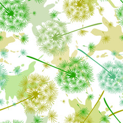 Fototapeta Inspiracje na wiosnę Seamless pattern with colored dandelions and spots of paint. Endless floral texture of delicate coloring. Vector illustration of spring dandelion flower. Creative backdrop for apparel, wrapping paper