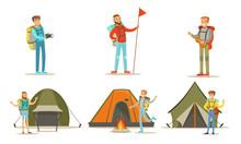 Men Hiking With Backpacks On V...