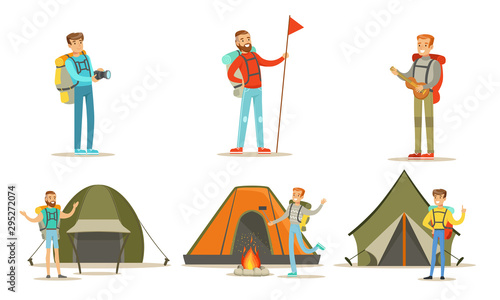 Tableau sur Toile Men Hiking with Backpacks on Vacation Set, Tourist Tents, Backpackers Spending T