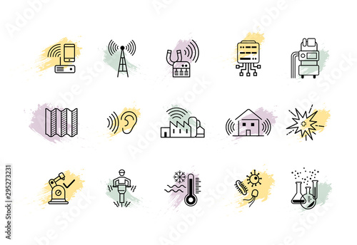Photo Set of outline icons of risks in the workplaces