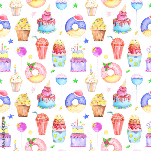 Poster Hibou Illustration seamless pattern drawn by watercolor confectionery: cakes, muffins, macaroons on the background.