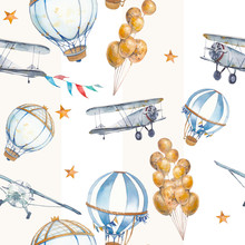 Watercolor Seamless Pattern With Air Balloon, Airplane And Stars. Hand Drawn Vintage Collage Illustration With Hot Air Balloon, Flag Garlands, Pastel Stripes And Stars.