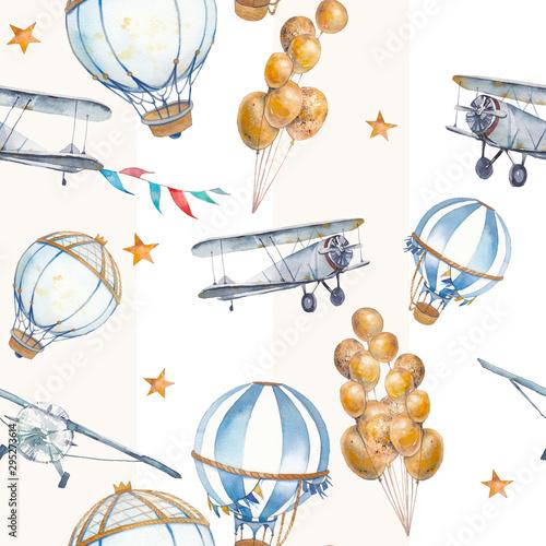 akwarela-bezszwowe-wzor-z-balonem-samolotem-i-gwiazdami-recznie-rysowane-rocznika-kolaz-ilustracja-z-balonem-girlandami-flag-pastelowe-paski-i-gwiazdy