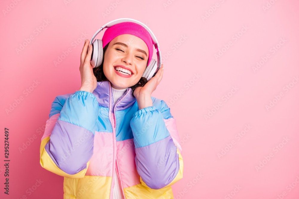 Fototapety, obrazy: Close-up portrait of her she nice attractive lovely winsome cheerful cheery girl enjoying new cool track closed eyes isolated over pink pastel background