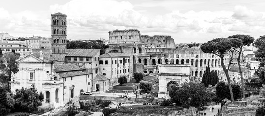 Fototapeta Architektura Roman Forum, Latin Forum Romanum, most important cenre in ancient Rome, Italy. Aerial view from Palatine Hill