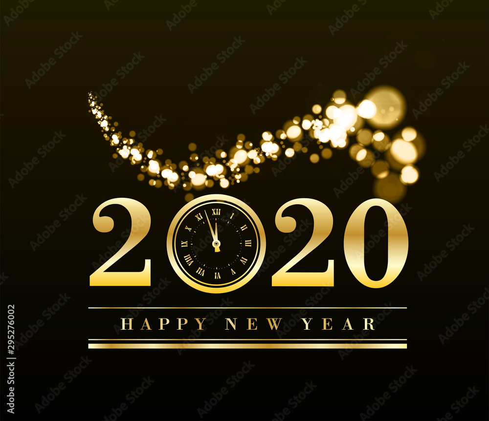 Fototapeta Happy New Year 2020 with gold particles and a clock in the number zero. Vector golden illustration