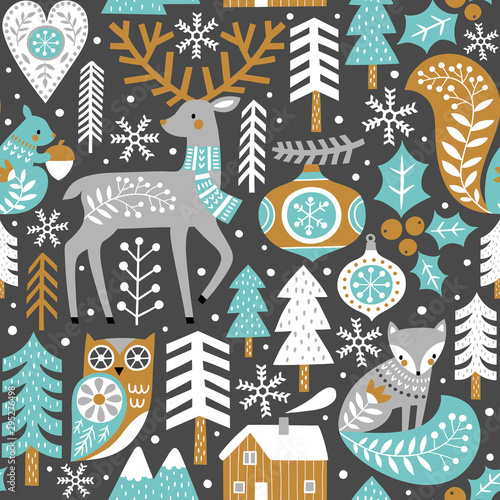 seamless-vector-pattern-with-cute-woodland-animals-woods-and-snowflakes-on-dark-grey-background-scandinavian-christmas-illustration