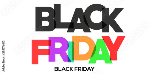 Valokuvatapetti BLACK FRIDAY colorful vector typography banner