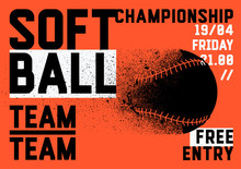 Softball Championship Typograp...