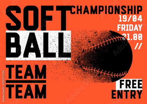 Fotomural  Softball Championship typographical style poster