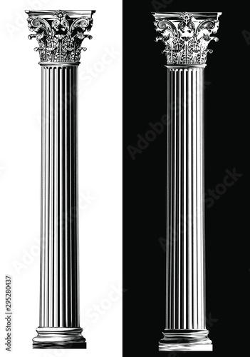 Corinthian column. Black and white sketch style Wallpaper Mural