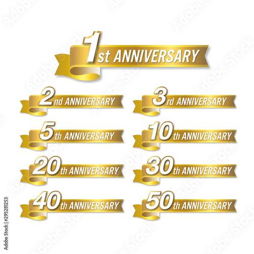 Fototapeta アニバーサリー 1,2,3,5,1,20,30,40,50周年記念まで使えるゴールドのリボンベクター素材