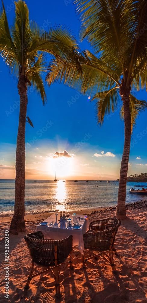 Fototapety, obrazy: Romantic dinner at sunset on beach, Mauritius