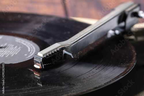 Vintage record player with retro vinyl disc