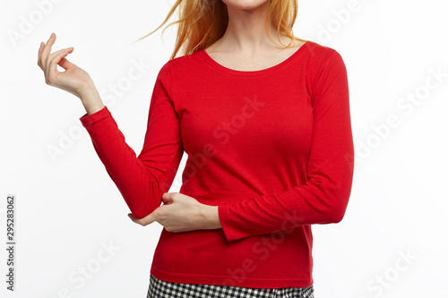 woman longsleeve red tshirt template white background Fototapet
