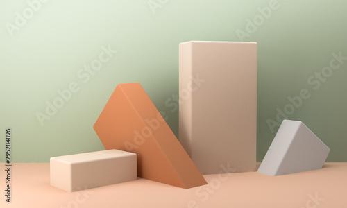 Geometric shape scene Minimal style,  3d rendering. Canvas-taulu