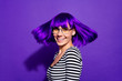 Leinwanddruck Bild - Close up photo of pretty lady looking smiling isolated over purple violet background