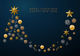 Vector Abstract cover Golden Christmas Tree, with text on blue background