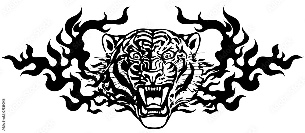 Fototapeta Head of roaring tiger in tongues of flame. Angry wild big cat. Front view. Black and white Tribal tattoo style vector illustration
