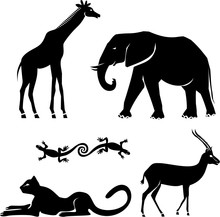 Animals :  Girafe, Elephant, C...