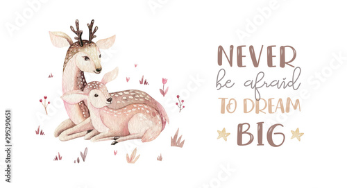 Watercolor little deer baby and mother watercolour bembi cartoon baby nursery Canvas Print