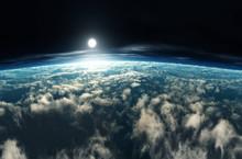 Earth From Low Orbit. Sunrise ...