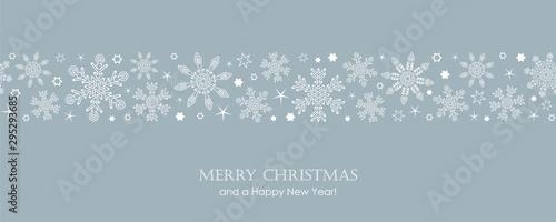 Cuadros en Lienzo blue christmas card with white seamless pattern snowflakes vector illustration E