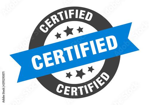 Pinturas sobre lienzo  certified sign. certified blue-black round ribbon sticker