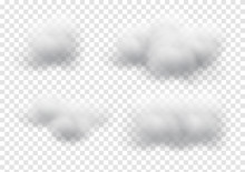 Virtual Cloud Vectors Isolated On Transparency Background, Fluffy Cubes Like White Cotton Wool Graphic Design