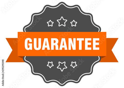 Fotomural  guarantee isolated seal. guarantee orange label. guarantee