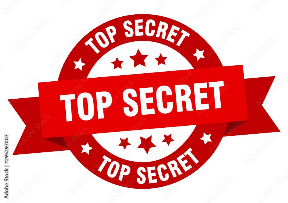 Fototapety, obrazy: top secret ribbon. top secret round red sign. top secret