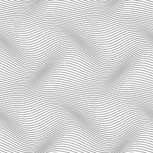 Wavy Line Seamless Pattern. Black And White Stripe. Wave Ripple Abstract Vector Background