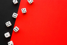White Casino Dices On Black And Bright Red Background. Mock Up For Gambling Or Other Games. Empty Place For Text.