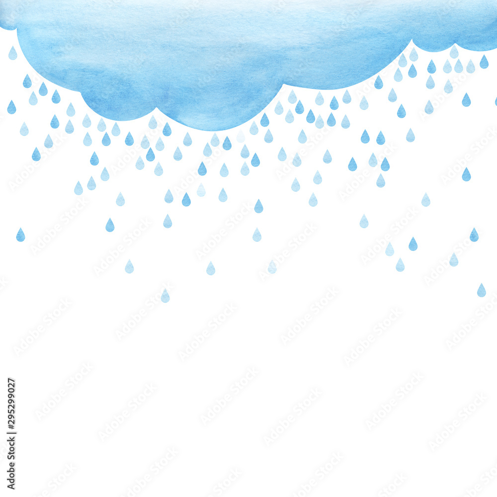Fototapety, obrazy: Overcast and rain. small scattering raindrops. Background cutout template. Large raindrops. Big lught gradiented blue cloud. Watercolor fill. Page border template. Isolated on a white background