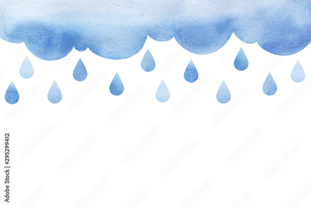Fototapety, obrazy: Overcast and rain. Blue rainy clouds. Background cutout cumulus clouds with paper texture. Large raindrops Big lught gradiented blue cloud. Watercolor fill. Page border template. Isolated on white.