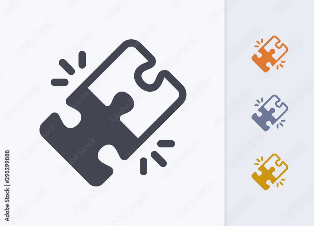 Fototapeta Locked Puzzle Pieces - Pastel Stencyl Icons