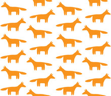 Vector Seamless Pattern Of Hand Drawn Doodle Orange Fox Silhouette Isolated On White Background