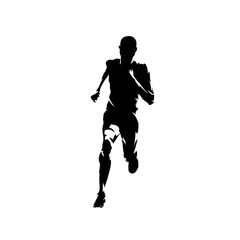 Sprinting man, isolated vector runner silhouette, front view