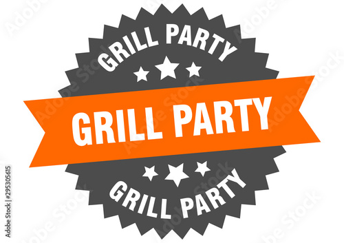 grill party sign. grill party orange-black circular band label фототапет