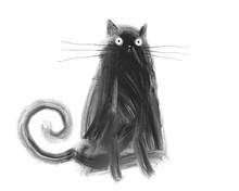 Black Cute Crazy Cat On White ...