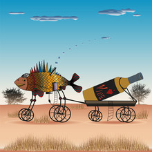 Fish Is Pulling A Cart With A Bottle Of Wine On The Steppe. Illustration Of Paintings In The Style Of Syurealizm Salvador Dali.