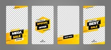 Stories Template Set For Banner Sale, Presentation, Flyer, Poster, Invitation. Screen Backdrop For Mobile App. Instagram Story Mockup.