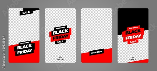 Obraz Stories template set for black friday, presentation, flyer, poster, invitation. Screen backdrop for mobile app. Instagram story mockup. - fototapety do salonu