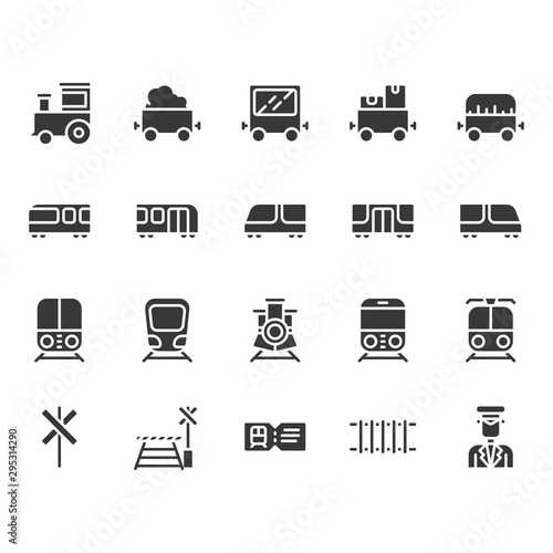 Train stations related icon set. Canvas-taulu