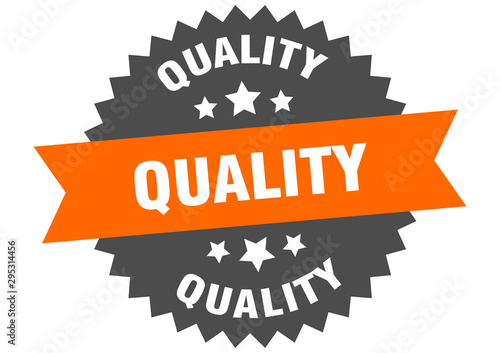 Obraz quality sign. quality orange-black circular band label - fototapety do salonu