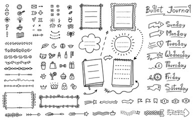 Bullet journal doodle set - hand drawn divider, icon, border decoration