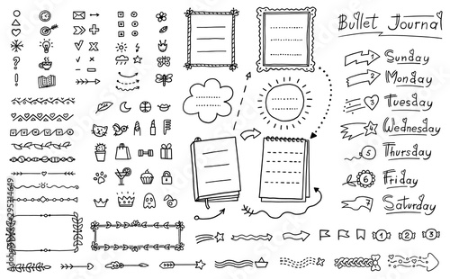 Obraz Bullet journal doodle set - hand drawn divider, icon, border decoration - fototapety do salonu