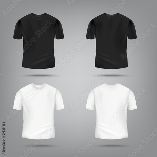 Fotografía Black and white male t-shirt mockup set from front and rear view